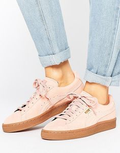 f2676e022175 Pink Suede Classic Sneakers With Gum Sole by Puma. Sneakers by Puma