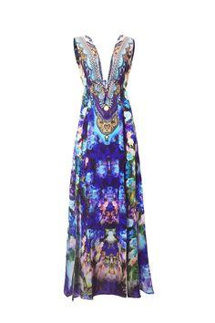 Blue Floral Long Summer Dress with Slit