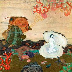 Ceramic decal, Pearl. For sale at the Etsy shop of Stained Glass Elements. transfer, 750-850ºC,  parel, sprookje, vissen, decals voor keramiek,1400-1562 ºF, decals voor glas, decals voor emailleren, glas
