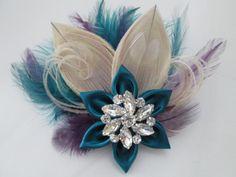 PEACOCK WEDDING Hair Fascinator Teal Bridal by NakedOrchidGarters