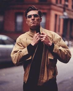 city // menswear, mens style, fashion, bomber, jacket, winter, fall, hair cut style, haircut, hairstyle, glasses, street