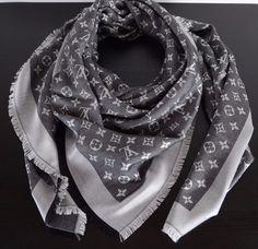 New Louis Vuitton Monogram Silk/Wool Shawl scarf M71378 Denim Black…