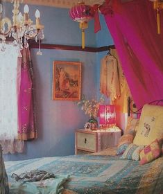 bohemian bedroom - love the colors, the walls, the fabric....everything! #blue #fabric #decor #color
