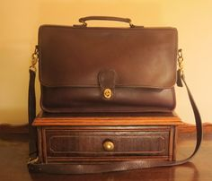 Coach Spencer Brief   Brown ( Mahogany) Leather With Crossbody Strap Style No 5278- U.S.A. Made- VGC by ProVintageGear on Etsy