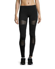 Shop Mesh Inset Leggings, Black from Solow at Neiman Marcus Last Call, where you'll save as much as on designer fashions. Mesh Insert Leggings, Elastic Waist Pants, Black Trousers, Pull On Pants, Slim Legs, Black Leggings, Designing Women, Her Style, Active Wear