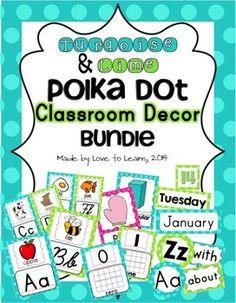 Classroom Decor Bundle - Turquoise & Lime Polka Dot