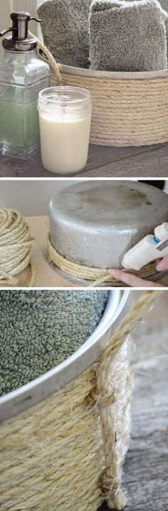 Create a Basket out of an Old Pot | Click Pic for 16 DIY Bathroom Storage Ideas…