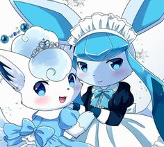 Extremely Cute Alolan Vulpix and Glaceon Pokemon Fan Art, Type Pokemon, Pokemon Sun, Eevee Cute, Alolan Vulpix, Pokemon Eeveelutions, Pokemon Pokedex, Pokemon Painting, Cute Kawaii Drawings