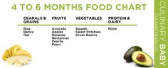 4 – 6 Month Baby Food Chart