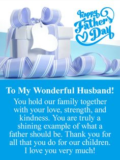 Happy Father's Day My Sweetheart! Your such a Wonderful, Hard Working, Loving Father! Husband Fathers Day Quotes, Father Birthday Quotes, Happy Fathers Day Poems, Happy Father's Day Husband, Wishes For Husband, Father Quotes, Wife Birthday, Dad Quotes, Card Birthday