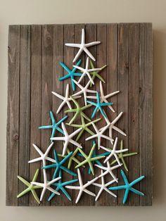 Coastal Christmas Decor - starfish art - beach decor - christmas tree - Christmas decoration by planbinteriors on Etsy https://www.etsy.com/au/listing/478357921/coastal-christmas-decor-starfish-art