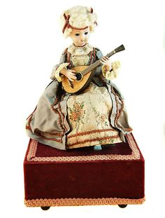 19 th c. Automaton Doll and Music Box from aa1antiques on Ruby Lane