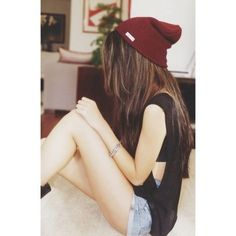 love her outfit!! maroon beanie, black muscle tank, shorts❤️❤️❤️ summer style, summer outfit, cute outfit❤️the hair does it too.