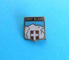 MONT BLANC - vintage enamel pin badge * mountaineering climbing Switzerland