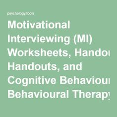 Motivational Interviewing (MI) Worksheets, Handouts, and Cognitive Behavioural Therapy Resources Mental Health Therapy, Mental Health Counseling, Counseling Psychology, Psychology Major, Positive Psychology, Counseling Activities, Therapy Activities, Work Activities, Cbt Worksheets
