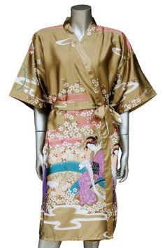 Geisha Kimono Womens Satin Silk Robe  One Size  Deep Gold >>> Find out more at the image link.