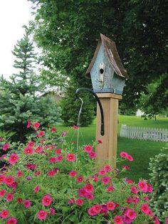 Birdhouse with tin roof and doorknob back plate with key ~