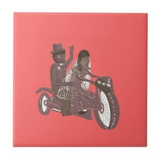 Biker Wedding Pink ceramic tile, great gift for guests or the couple. Frames available.