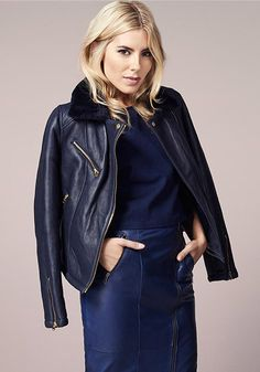 Sing the Blues in a leather pencil skirt and shearling jacket just like Mollie. #LovedByMollie