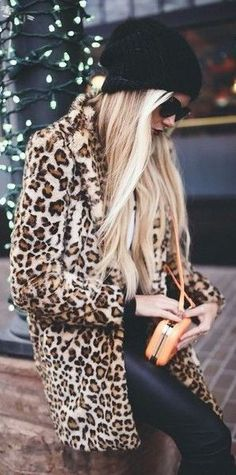 #Winter #Outfits / Leopard Print Coat