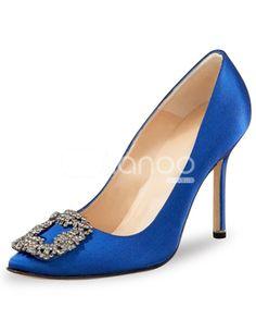 Manolo Blahnik Something Blue Satin Pump Carrie And Big, Walking In Heels, Manolo Blahnik Heels, Satin Pumps, Blue Satin, Madame, Wedding Shoes, Jimmy Choo, Me Too Shoes