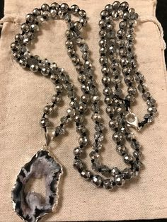 Silver Hematite & Crystal Druzy Quartz Necklace by msherman1