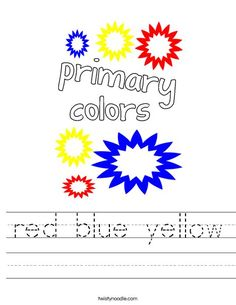 red blue yellow Worksheet - Twisty Noodle