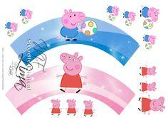 Toppers e Wrappers para Cupcake para Imprimir - Arquivo Digital - Peppa Pig