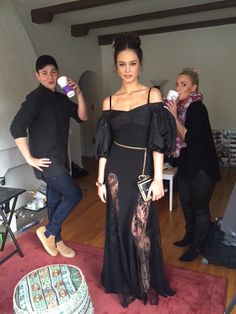 3: 30 p.m.: The gorgeous Courtney Eaton is in Mad Max: Fury Road and tonight we went Frida Khalo in this incredible Alessandra Rich dress and sick Chanel jewelry. Here she is with the wonderful glam team of Christian Wood and Georgie Eisdel.-Wmag