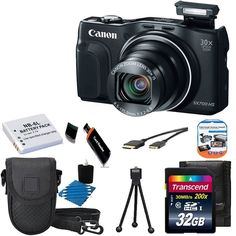 CANON PowerShot SX700 HS 16.1MP HD 1080p Video Digital Camera Black With Extra Battery + Digital Camera Case And 32GB Memory Card Top Deluxe Accessory Kit