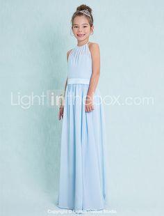 Lanting Bride® Floor-length Chiffon Junior Bridesmaid Dress Sheath / Column Halter with 2016 - $90.08
