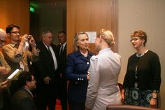 Hillary and Yulia Tymoshenko at a meeting of the She-wolves in Ukraine 2014. Two women cut from the same dishonest and corrupted cloth.