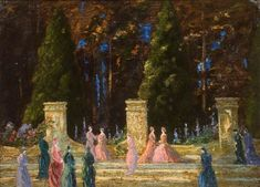 The Athenaeum - A Garden by Night (Thomas Edwin Mostyn - No dates listed)