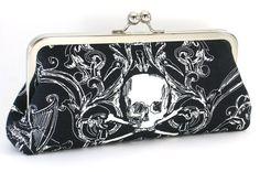 Skull Clutch Handbag -  Gothic Black and White Evening Bag  -  Day of the Dead Purse - Rockabilly - Tattoo Purse