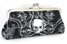 Skull Clutch Handbag -  Gothic Black and White Evening Bag  -  Day of the Dead Purse - Rockabilly - Tattoo Purse