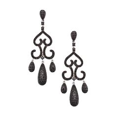 Silver and Black Spinel Chandelier Drop Earrings (£255) ❤ liked on Polyvore featuring jewelry, earrings, fine jewelryearrings, pave jewelry, holiday earrings, cocktail jewelry, holiday jewelry and evening jewelry