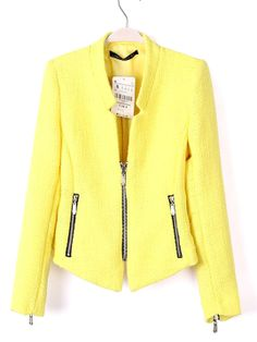 Yellow Collarless Long Sleeve Zipper Suit - Sheinside.com
