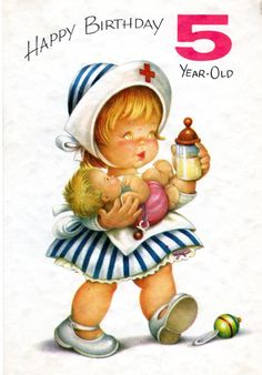 Chubby Cheeks Nurse Birthday Card For Five/ 5 Year Old Child Vintage 1960's