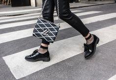 Ellery Blazer, Grey Blazer, Leather pants, black shoes, Brogues, Fishnet Socks, Louis Vuitton Bag, Amanda Shadforth, Oracle Fox