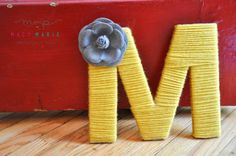 """Colorful Yarn Letter """"M"""" Yarn Letters, Craft Letters, Letter A Crafts, Twine Crafts, Crafting, Dreams, Colorful, Lettering, Pictures"""