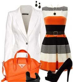 Ladies Outfits Trends. Gorgeous striped white black and orang dress. White suit jacket. Black heels and orange purse.
