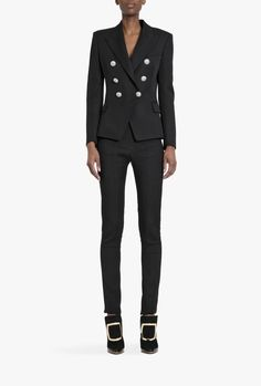 Double-breasted grain de poudre wool blazer | Women's blazers | Balmain