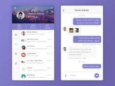 chat app page on Behance