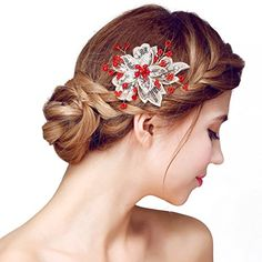 Fashion New Bridal Crystal Rhinestone White Flower Red Crystal Center Hair Accessories For Wedding Hair Pins Sticks For Hair Wedding Hair Pins, Wedding Hair Flowers, Wedding Headband, Flowers In Hair, Hair Jewelry, Jewelry Sets, Pearl And Lace, Wedding Hairstyles, Flower Hairstyles