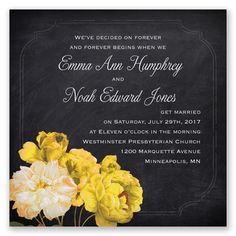 The start of a beautiful day is when you choose this gorgeous, two-sided, marquis size wedding invitation! The dramatic black chalkboard background is embellished with romantic canary yellow roses.   Product Details:    Invitation Size: 5 1/2' x 5 1/2'  Card Type:  Flat non-folding   Prints In: Flat, Digital Ink  Ink Color: Choose from a variety of ink options including David's Bridal exclusive colors  Choice of fonts and verses  Optional Envelope Liners  Extra Postage m...