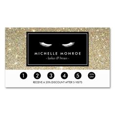 Eyelashes with Gold Glitter Loyalty Punch Card Double-Sided Standard Business Cards (Pack Of 100). This great business card design is available for customization. All text style, colors, sizes can be modified to fit your needs. Just click the image to learn more!