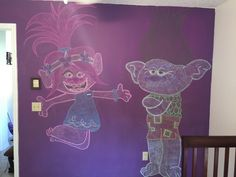 My daughter loves The Trolls Movie. So I chalked up Poppy and branch on her wall.