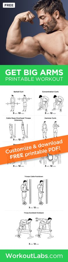 Big Arms Workout: Biceps and Triceps Exercises Printable Routine ��