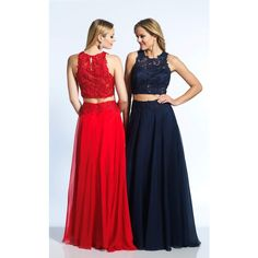 Dave and Johnny 10001 Sweet 16 Long High Neckline Sleeveless ($296) ❤ liked on Polyvore featuring dresses, gowns, formal dresses, navy blue, prom dresses, long evening dresses, prom gowns, long formal evening gowns and red lace evening gown