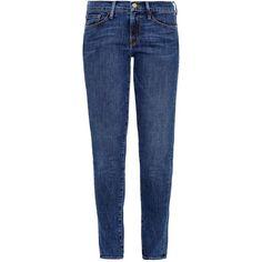 Frame Denim Le Skinny de Jeanne Kingslane skinny jeans ($143) ❤ liked on Polyvore featuring jeans, mid indigo, blue skinny jeans, blue jeans, frame denim, denim skinny jeans and skinny leg jeans